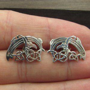 Sterling Silver Odd Floral Fish Stud Earrings